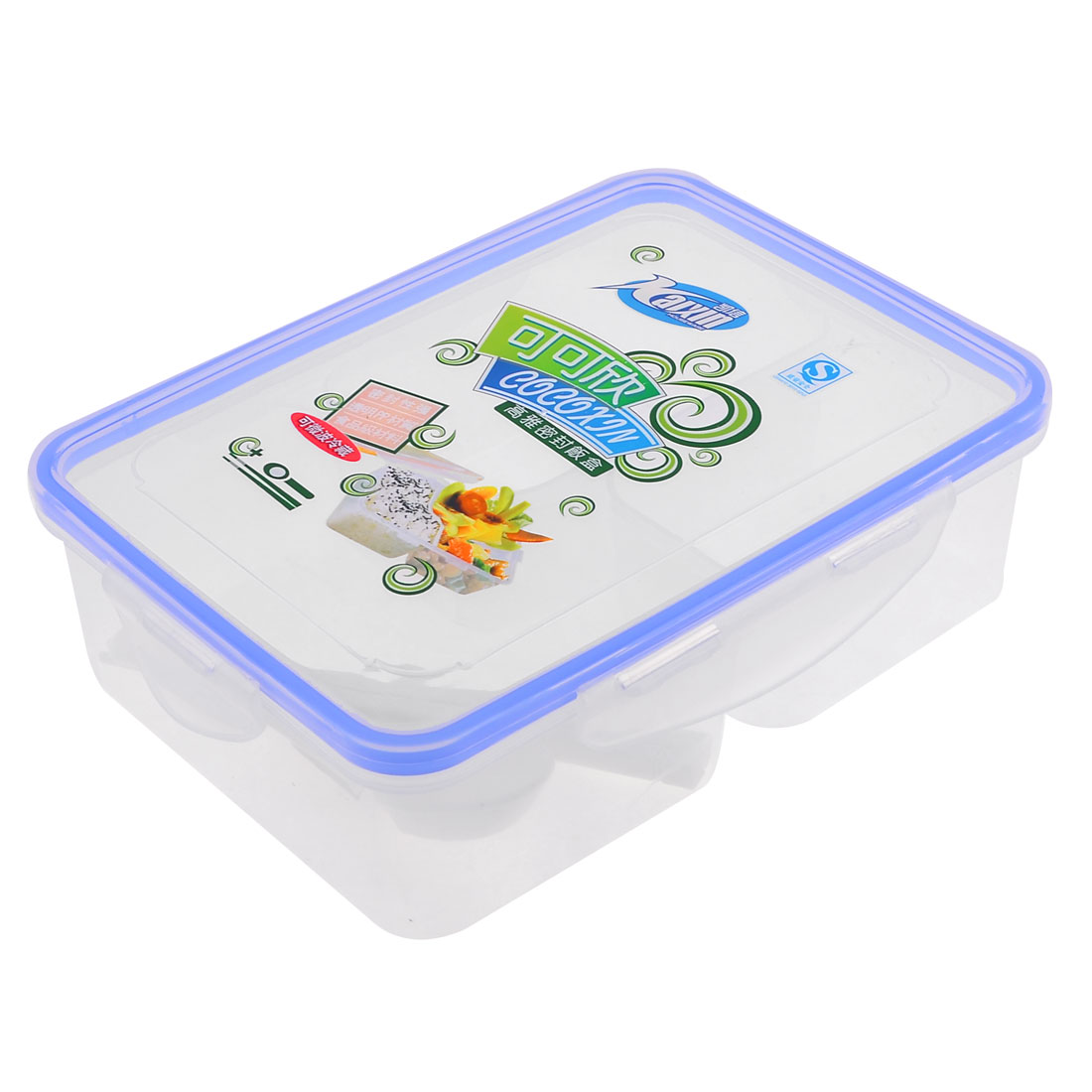 Portable Spoon Chopsticks Blue Clear 3 Compartments Traveling Lunch Box Holder