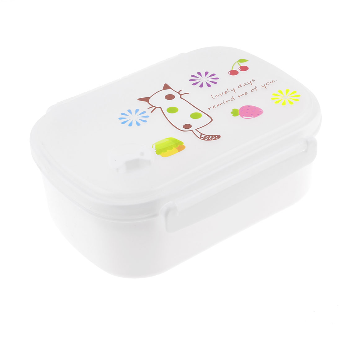 Household Hole Design Two Layer Dinner Case Lunch Box Organizer White