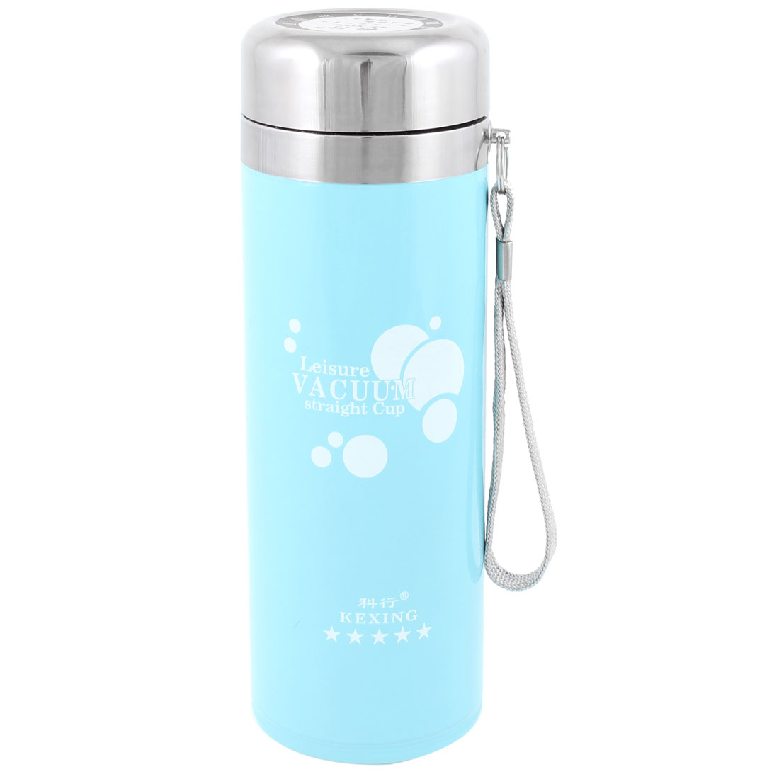 Home Office Blue Stainless Steel 280ml Water Vacuum Flask Bottle w Strap