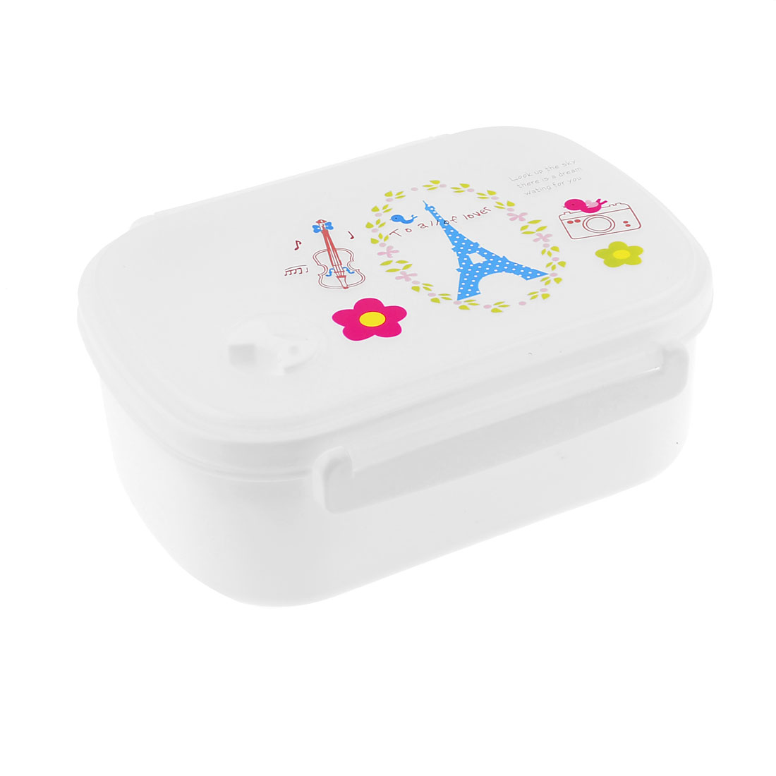 School Office White Plastic Tower Birds Letter Pattern Lunch Box Case w Spoon