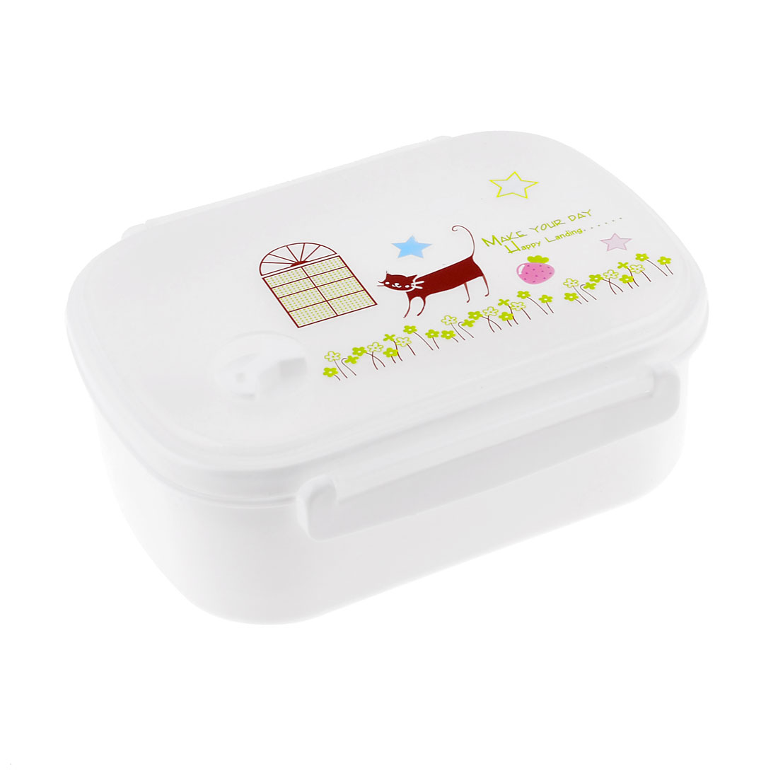 Portable White Plastic Flower Star Cat Letter Pattern Lunch Box Case w Spoon