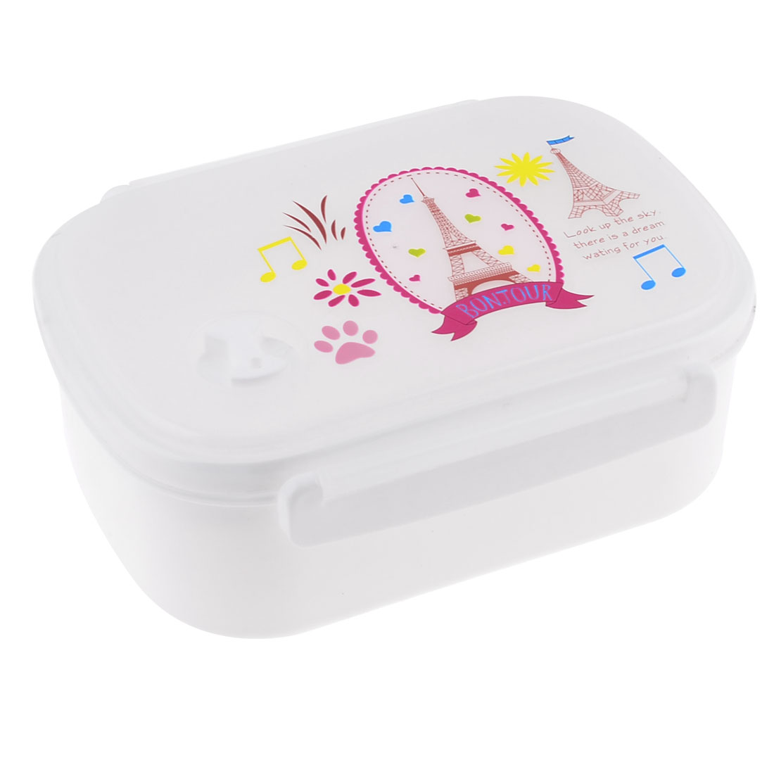 Tower Printed Rectangle Lunchbox Food Container Holder White w Spoon