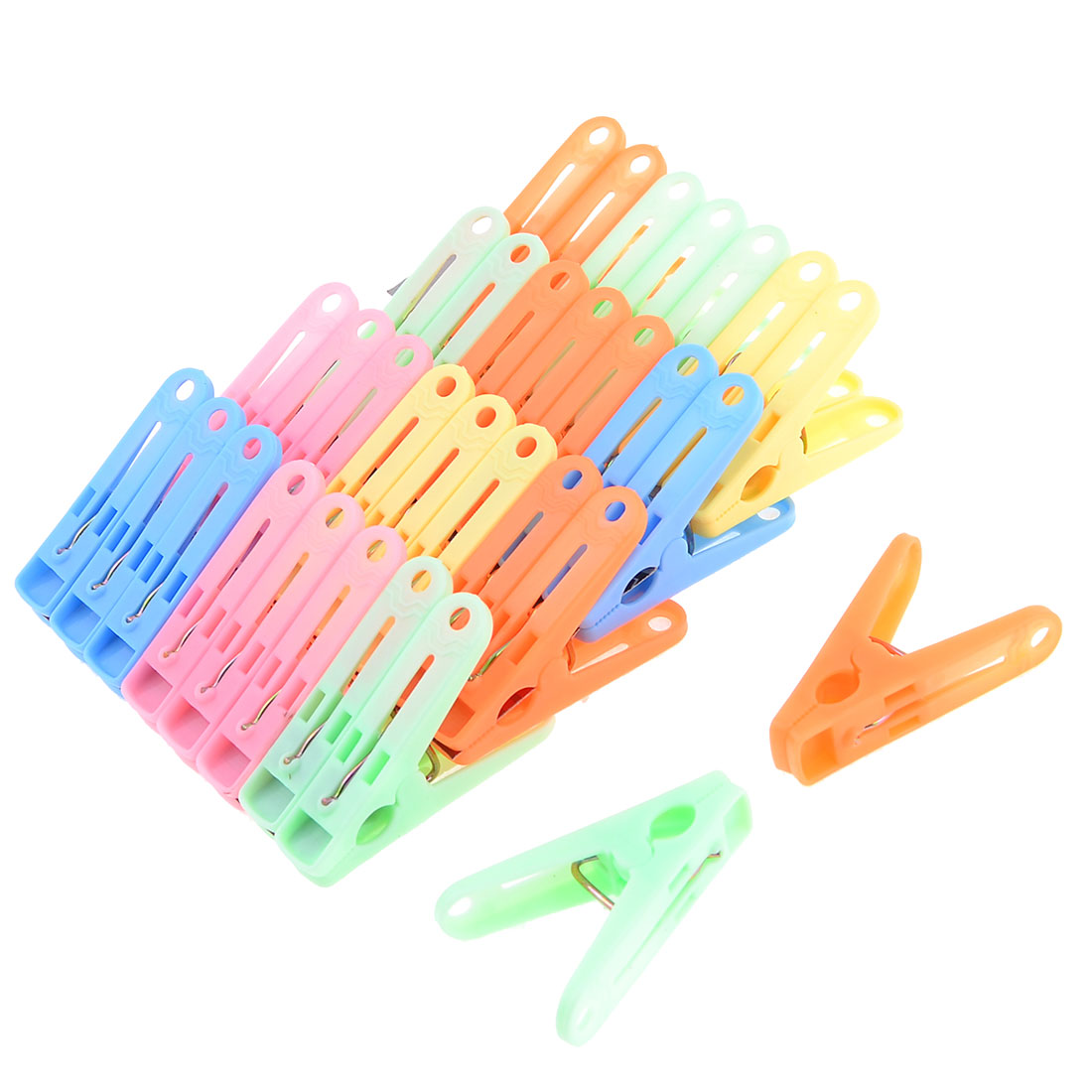 32 Pcs Home Laundry Multi Color Plastic Clothing Pegs Clips Clamps