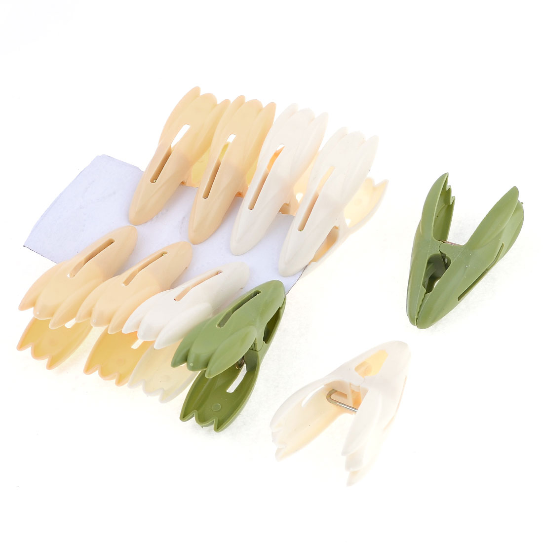 10 Pcs Laundry Army Green Apricot Plastic Rocket Shape Clothespins Clips