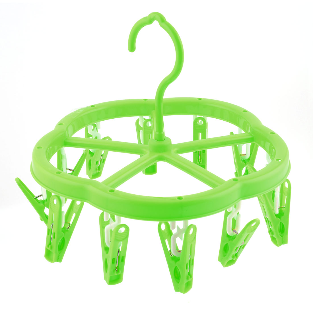 Green Plastic 12 Clamps Cloth Socks Gloves Rotatable Clotheshorse Drying Rack