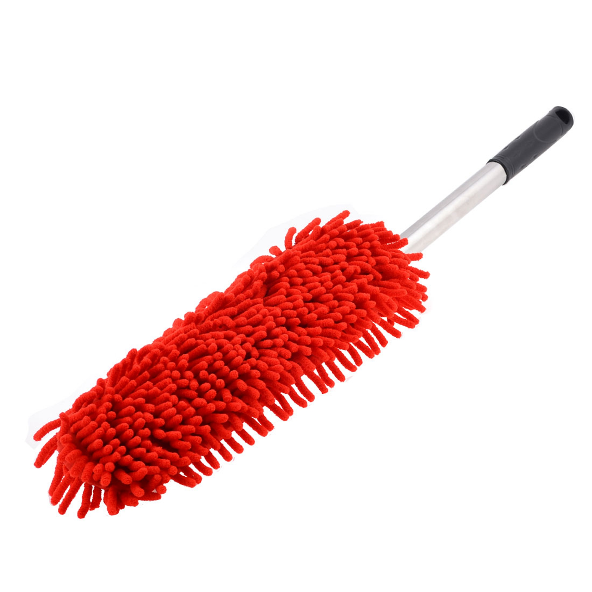 Stainless Steel Shaft Red Replaceable Microfiber Clean Car Duster Brush