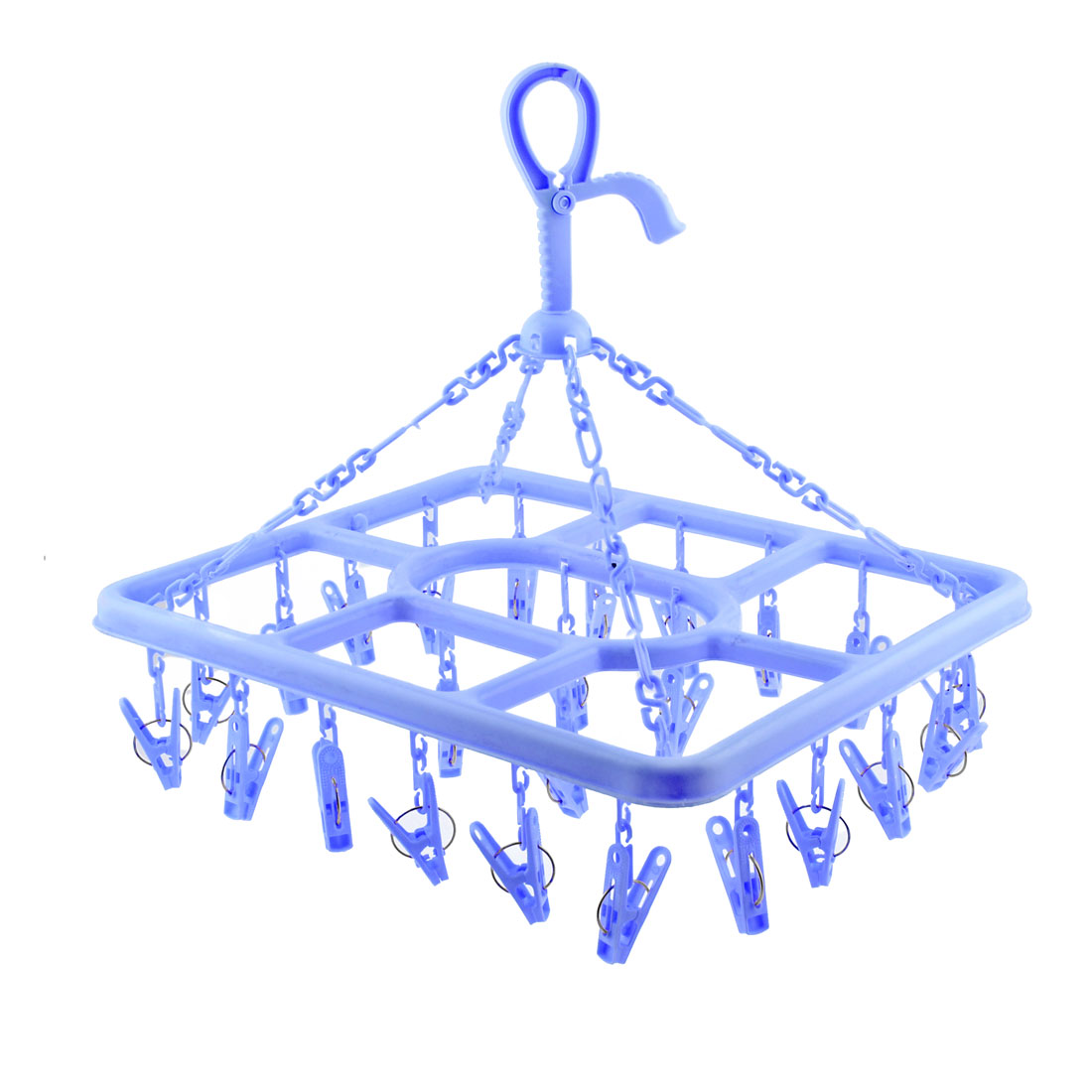 Blue Plastic 24 Clamps Cloth Socks Towel Pants Rotating Clotheshorse Drying Rack