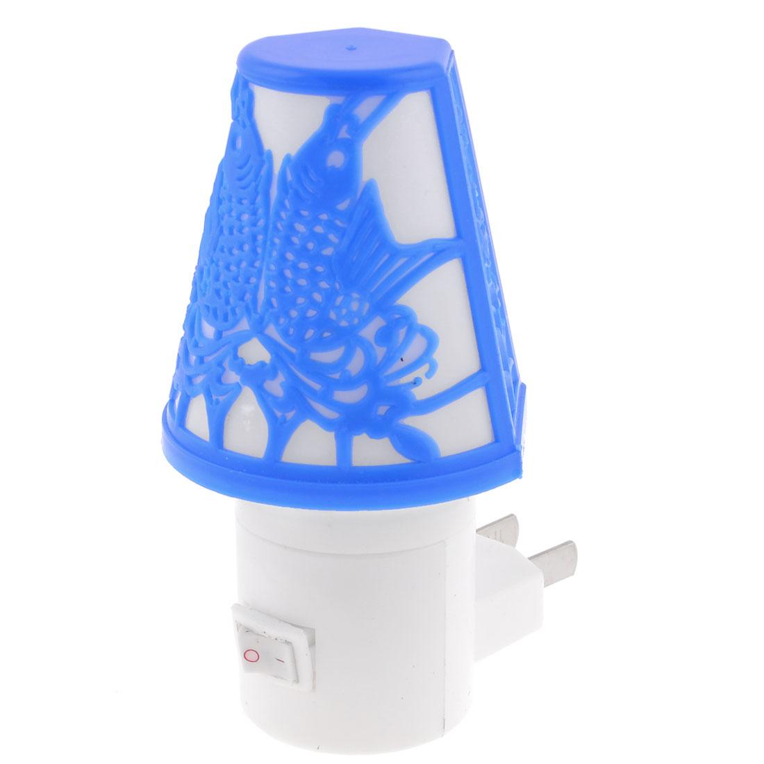 Blue Fish Print Cover Flat 2 Pole White LED Light Night Lamp AC 110-250V US Plug