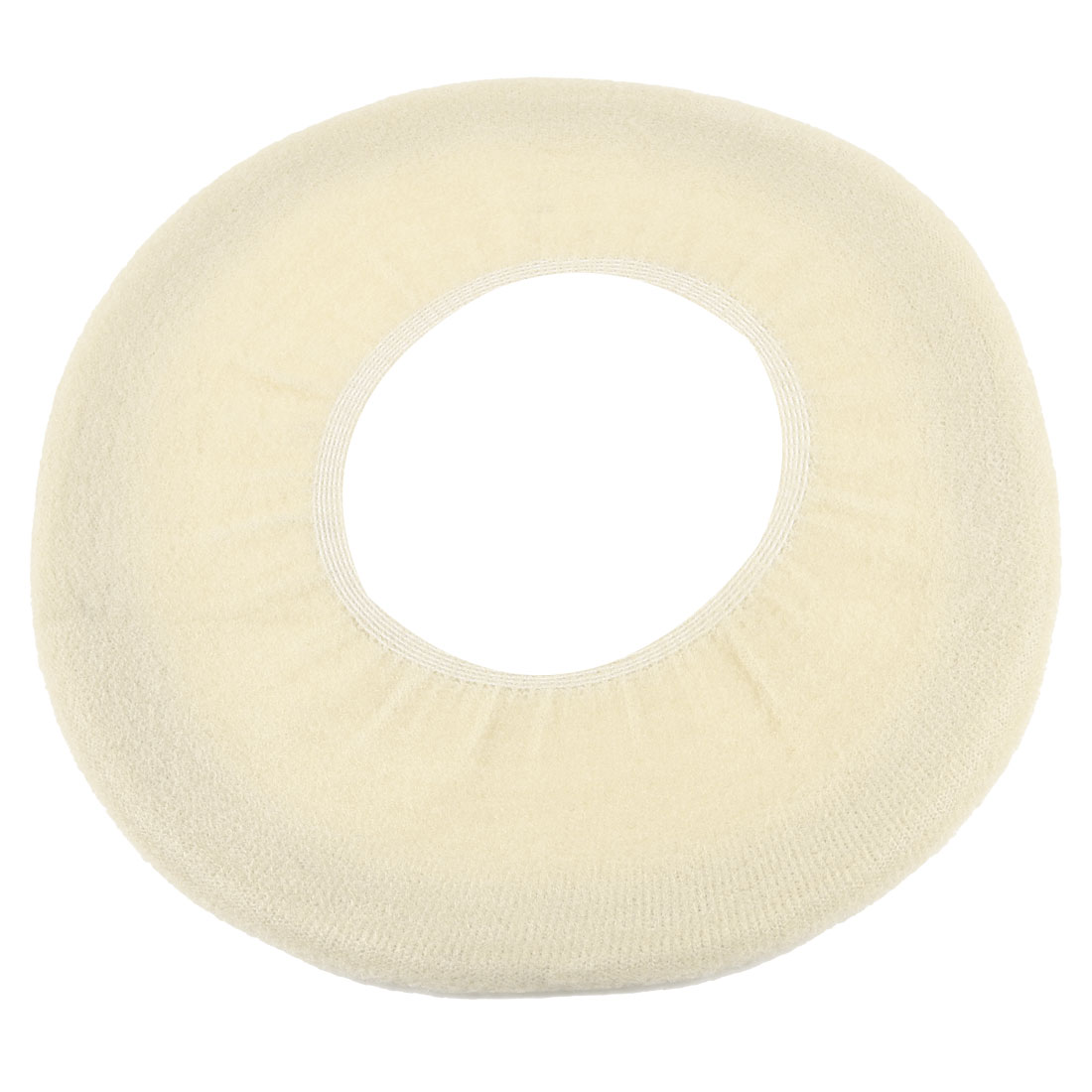 Bathroom Soft Fleece Stretch Toilet Seat Cover Cushion Pad off White