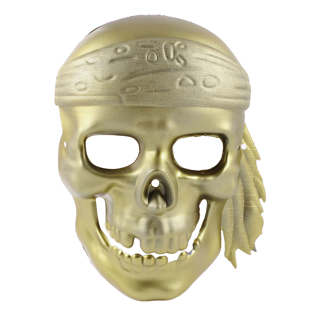 Men Adjustable Elastic Band Full Face Plastic Devil Shape Party Mask Gold Tone