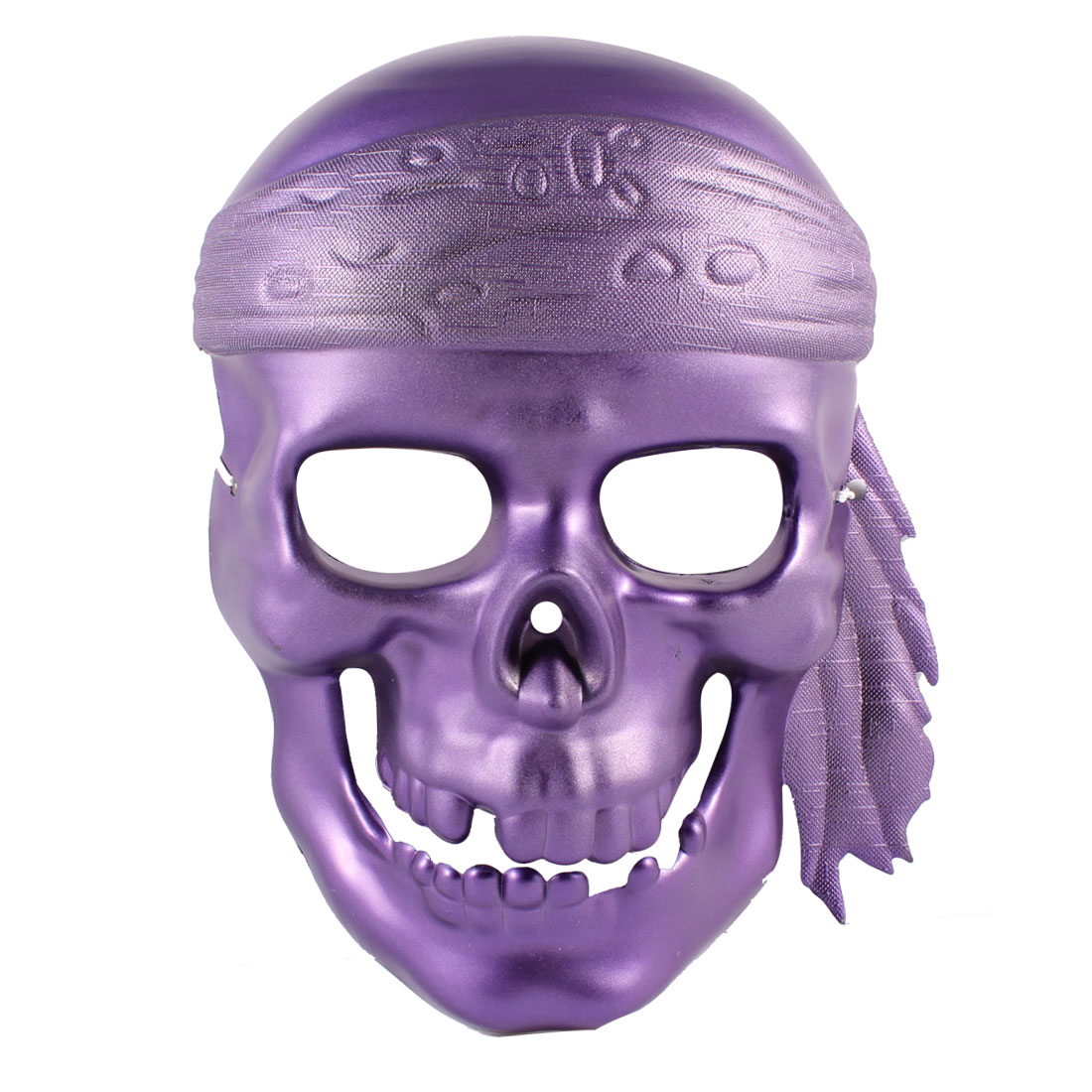 Men Adjustable Stretchy Band Full Face Plastic Devil Shape Party Mask Purple