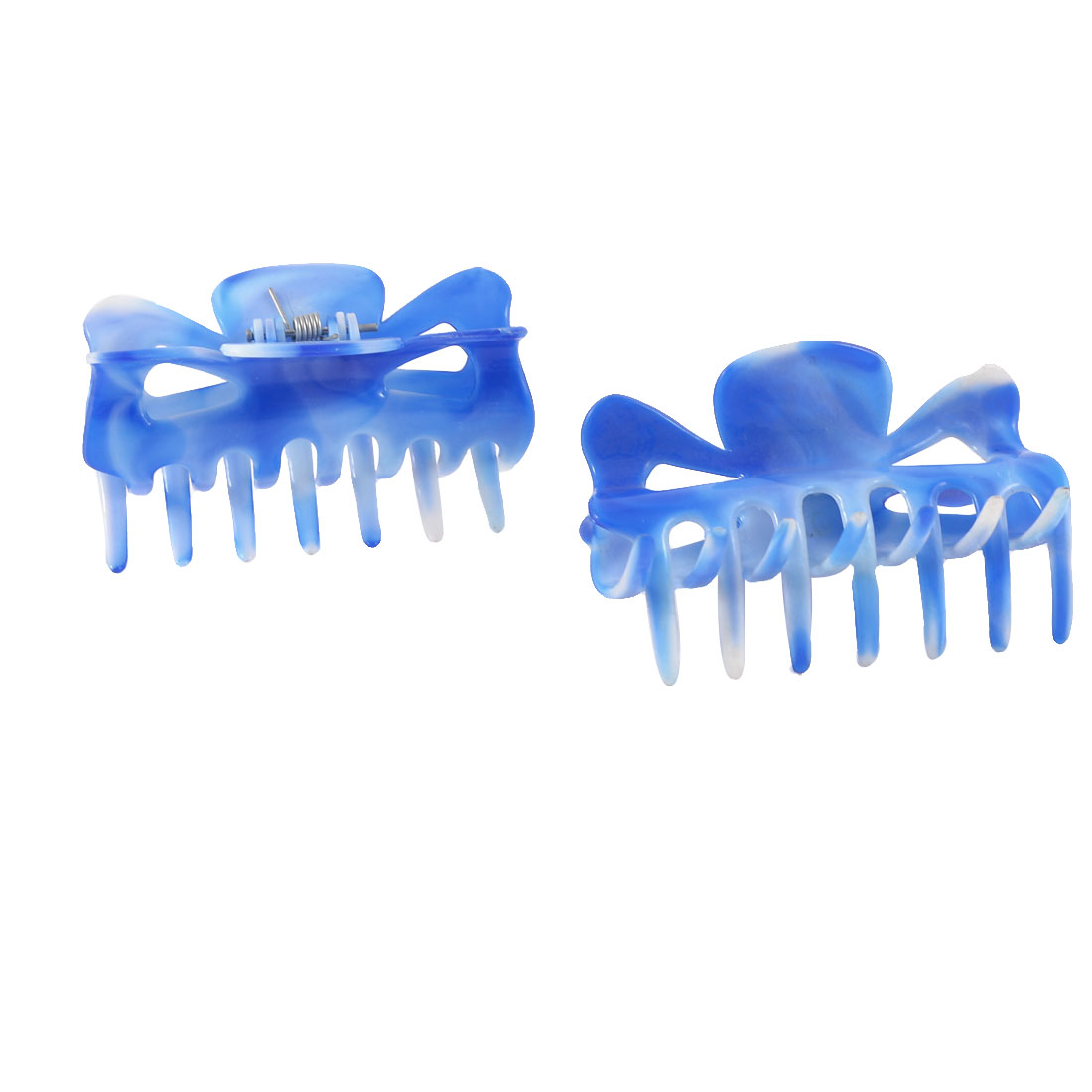 Woman Girls Blue Plastic Hairpin Hair Claw Clips 2 Pcs
