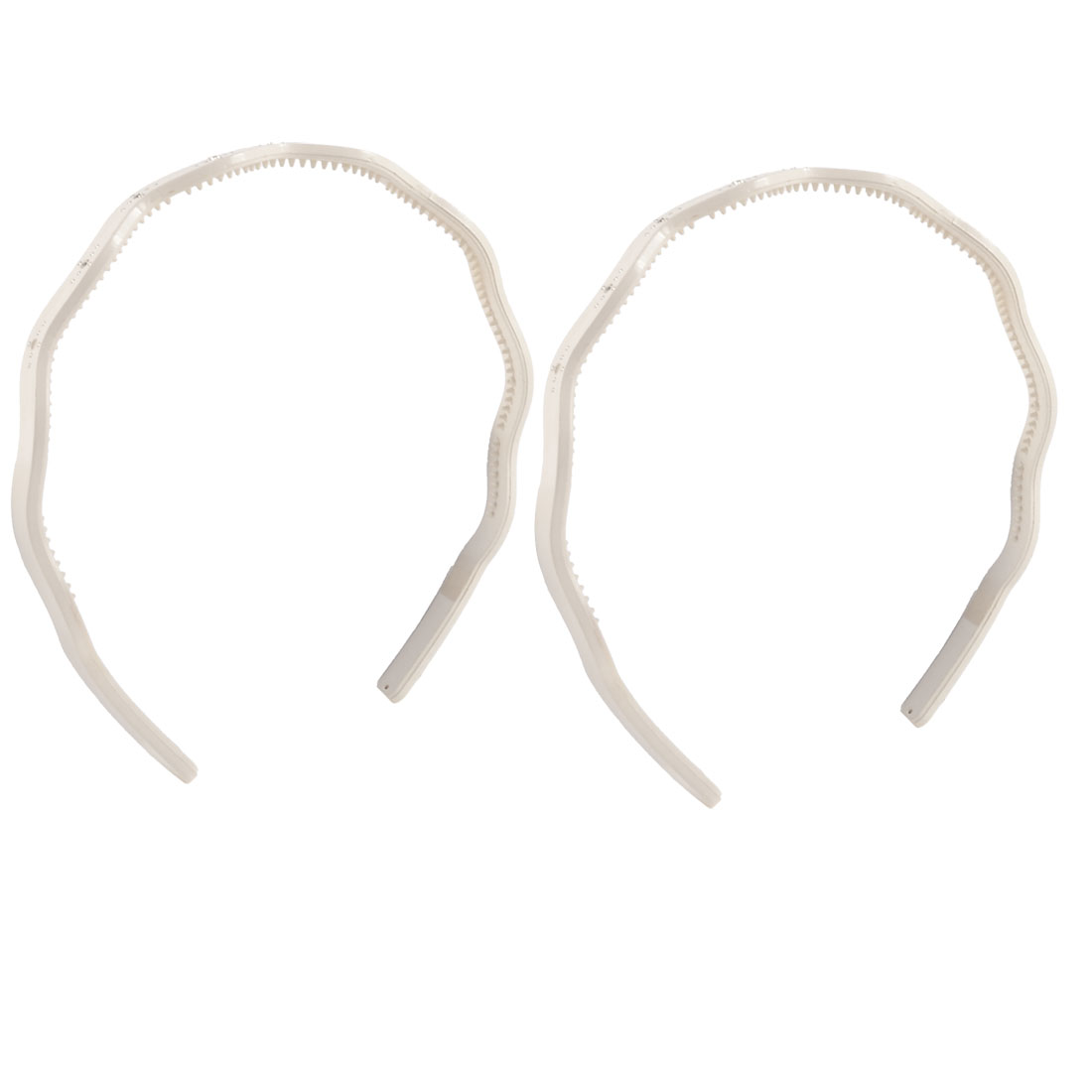 Lady Faux Rhinestones Decor Off White Plastic Hairband Hair Band 2 Pcs