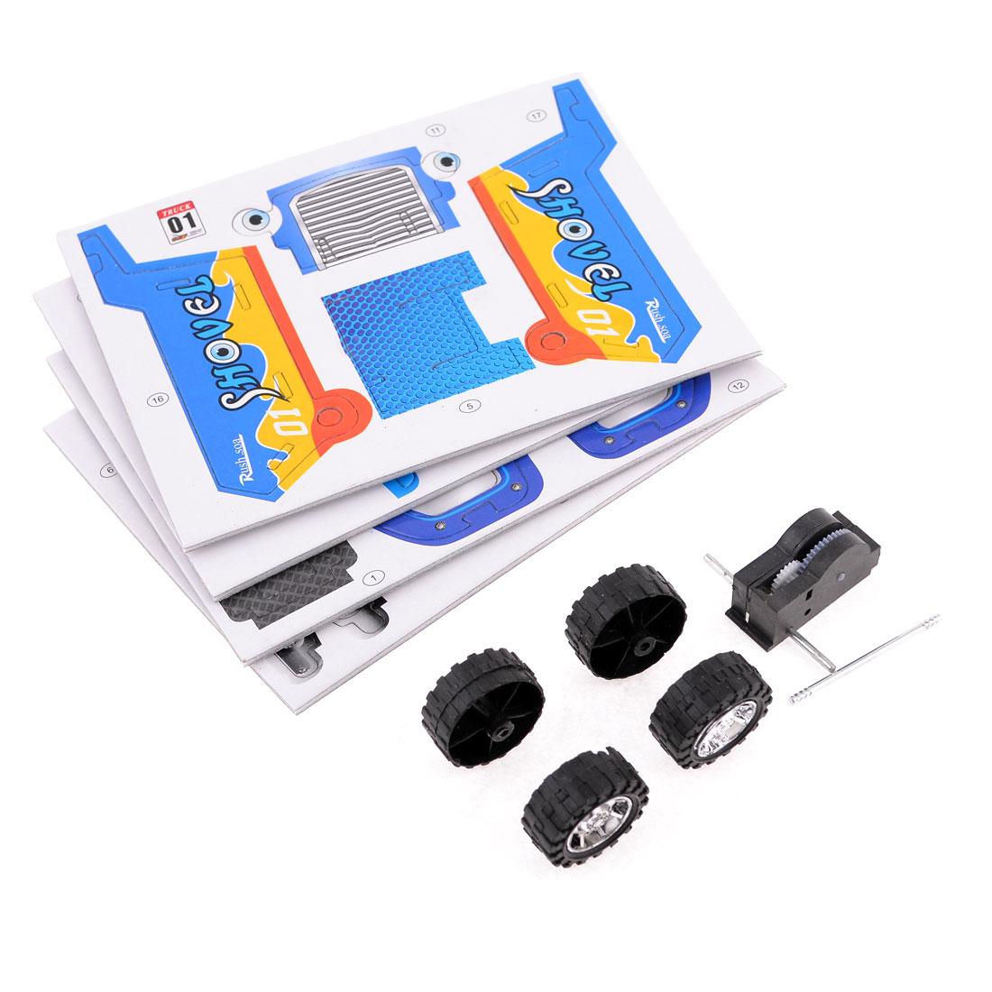 Yellow Blue Black Mini Truck Model 3D Puzzle Toy Assembling Kit for Kids
