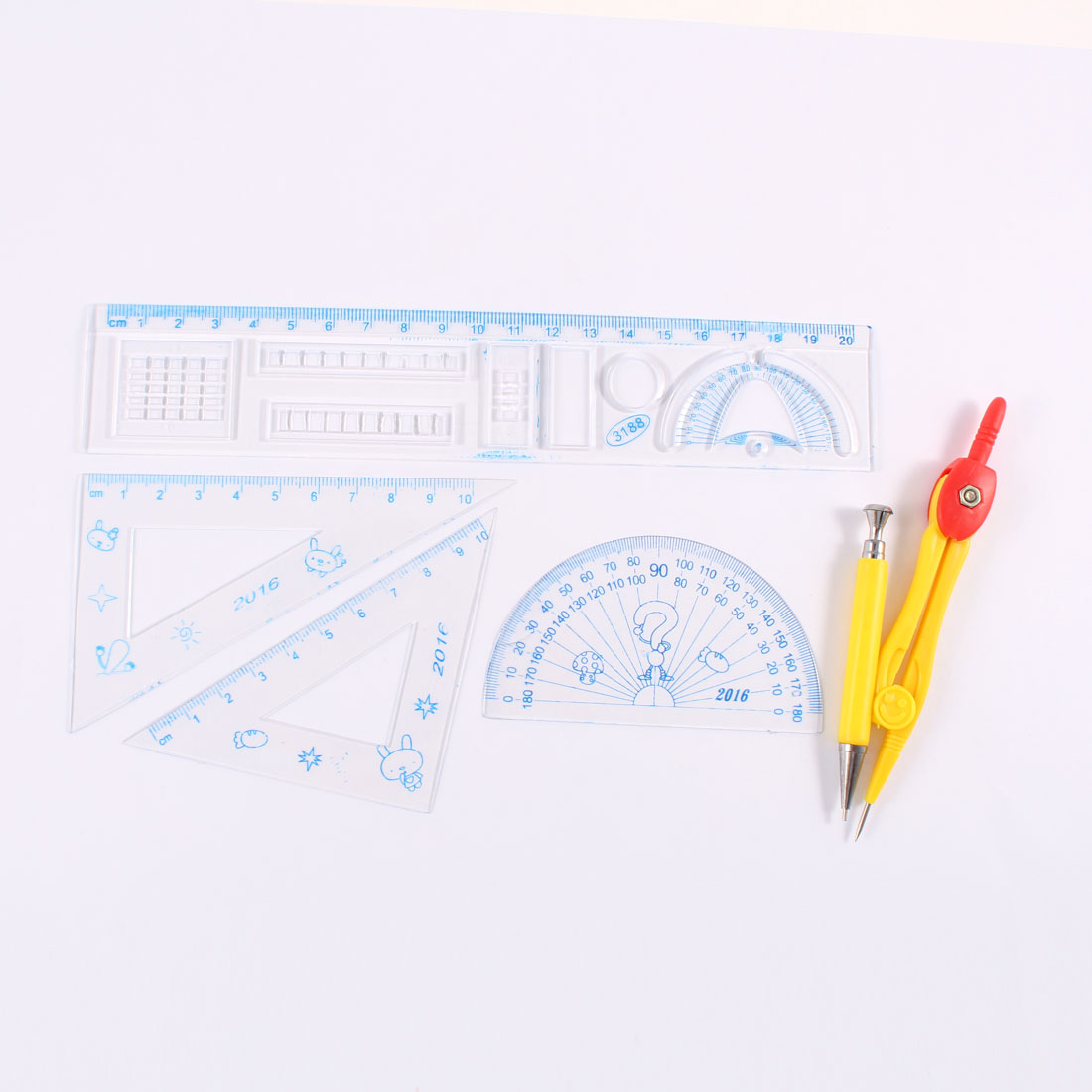 5 in 1 Yellow Compass Set Square Centimeter Ruler Protractor for Students