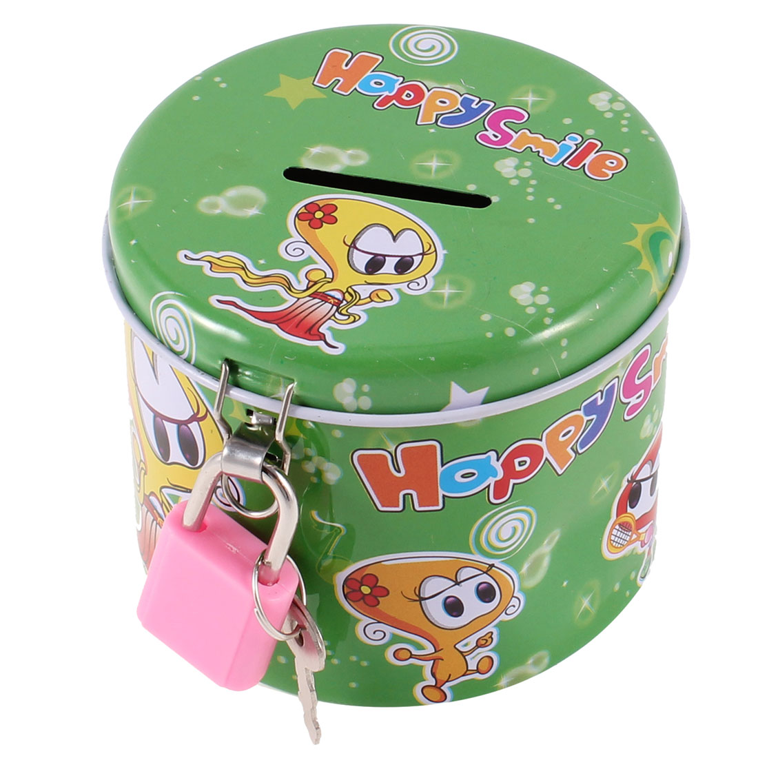 Cylinder Shape Metal Green Piggy Bank Coin Money Saving Box w Padlock