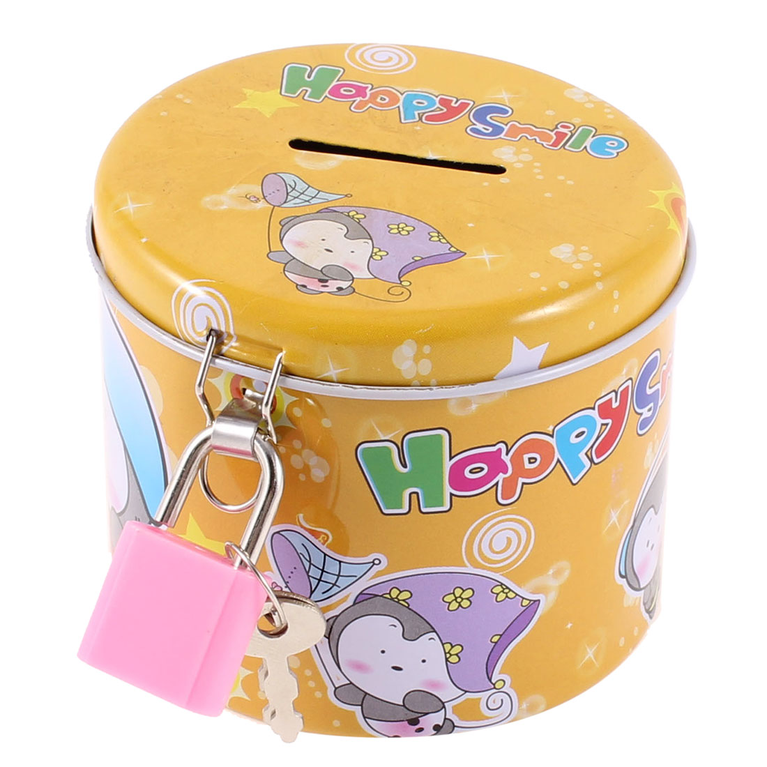 Cylinder Design Cartoon Print Yellow Piggy Bank Coin Money Saving Box w Padlock