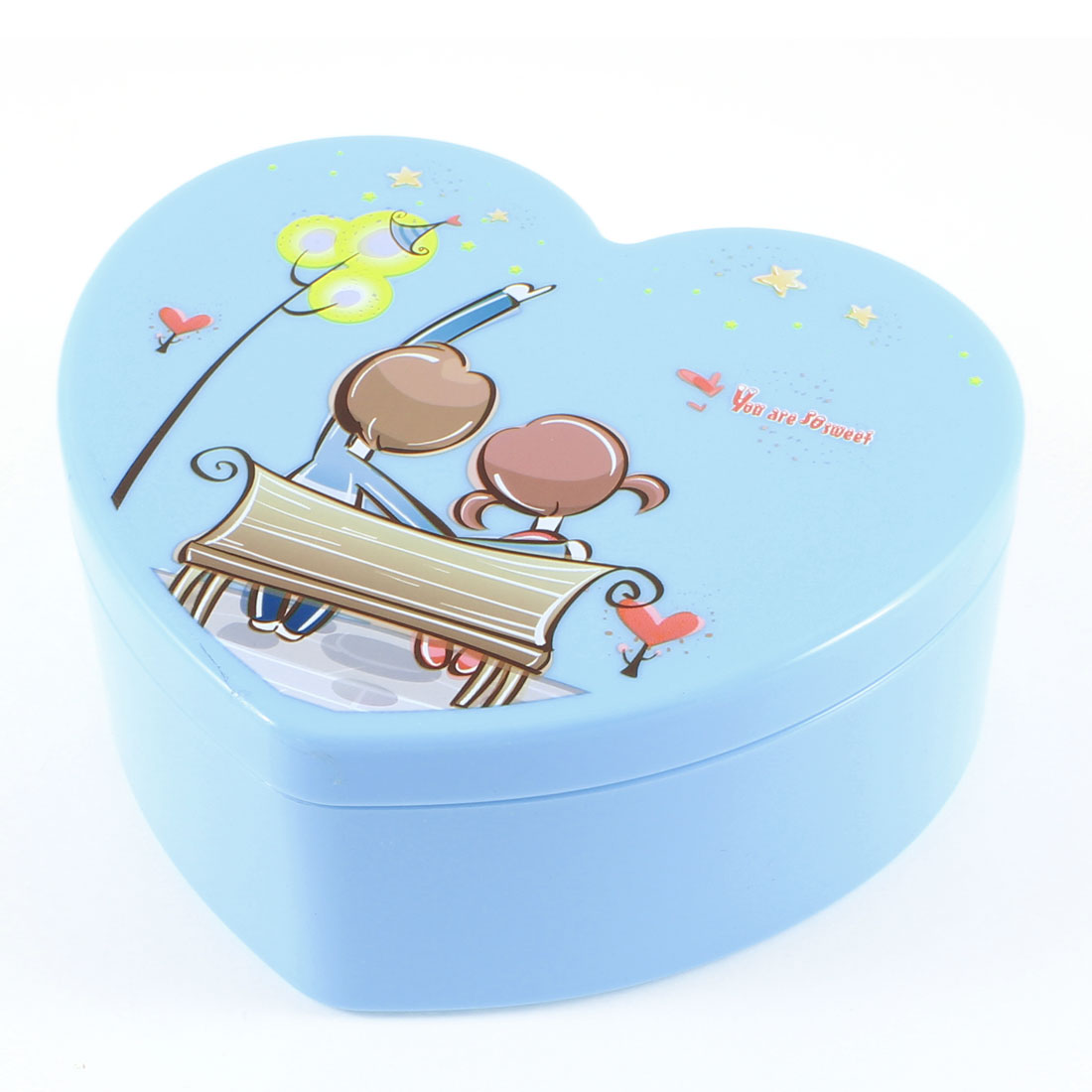 Lady Peach Heart Design Romantic Couples Print Cosmetic Case Storage Box Cyan