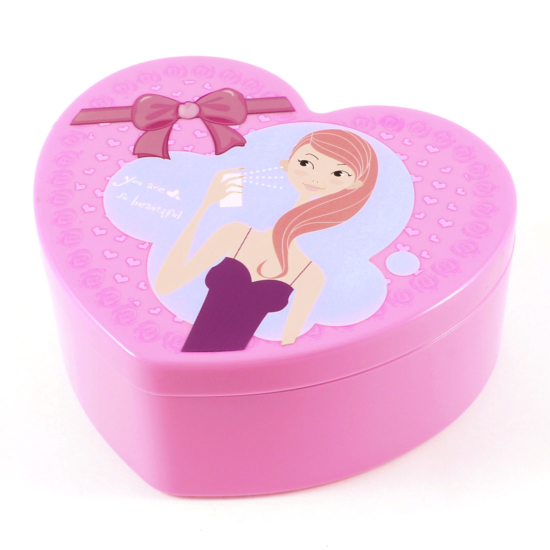 Ladies Fashion Girl Print Heart Shape Plastic Cosmetic Case Storage Box Pink