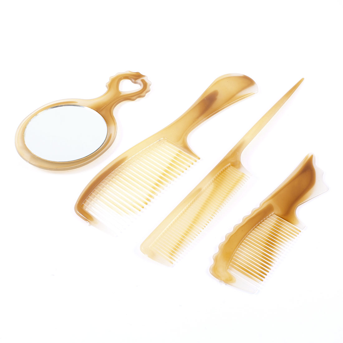 4 Pcs Yellow Plastic Wide Teeth Narrow Teeth Mirror Comb Comestic Set