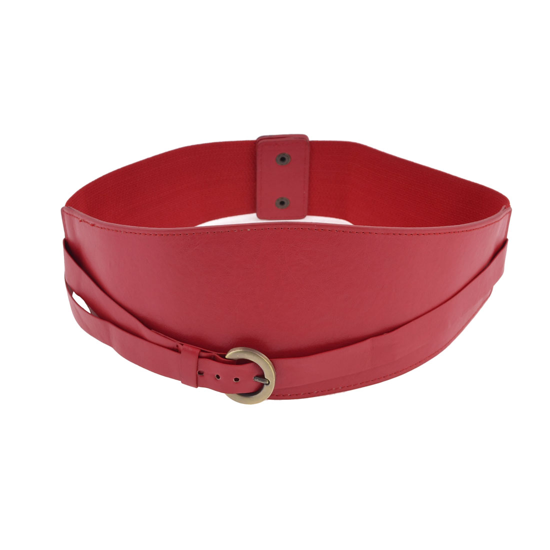 Woman Interlocking Buckle Red Stretch Litchi Print Waist Cinch Belt
