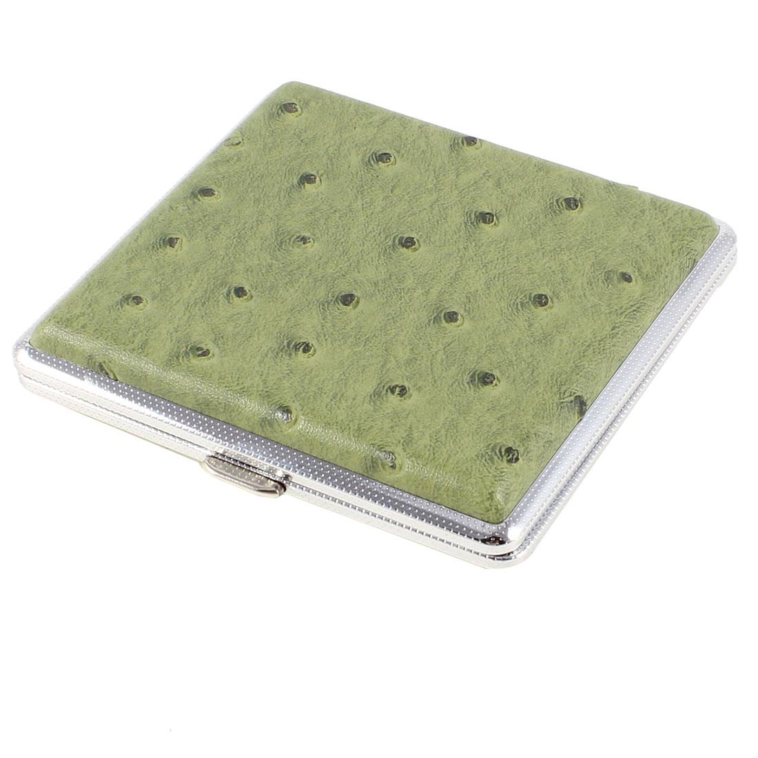 Man Dotty Crocodile Pattern Metal Tobacco Cigarette Case Box Olive Green