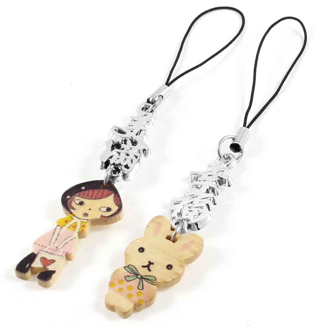 Chinese Character Cat Girl Pendant Phone Straps Hanging Ornament Pair