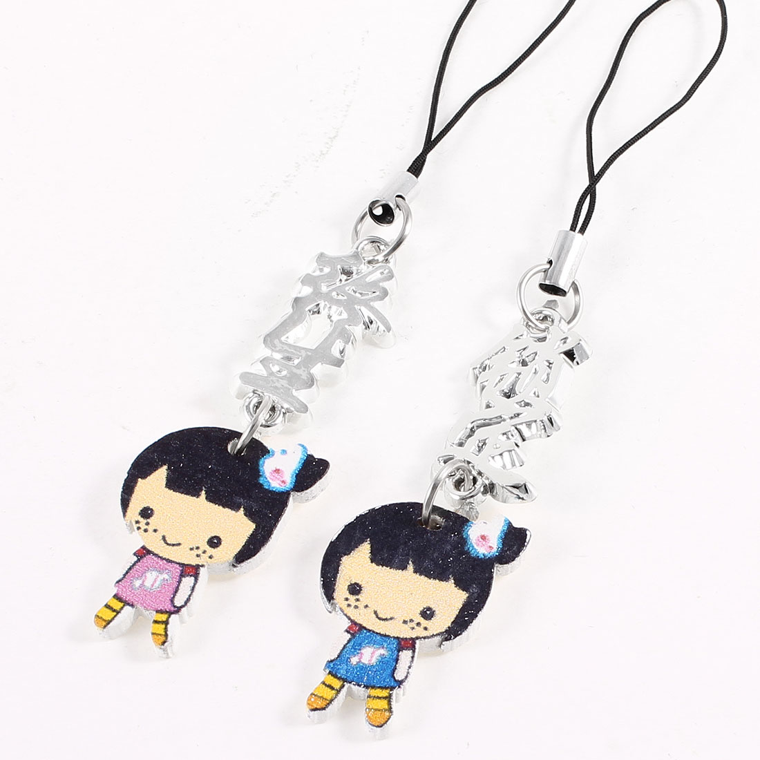 Lovers 2 Pcs Girl Shaped Pendants Cell Phone Strap