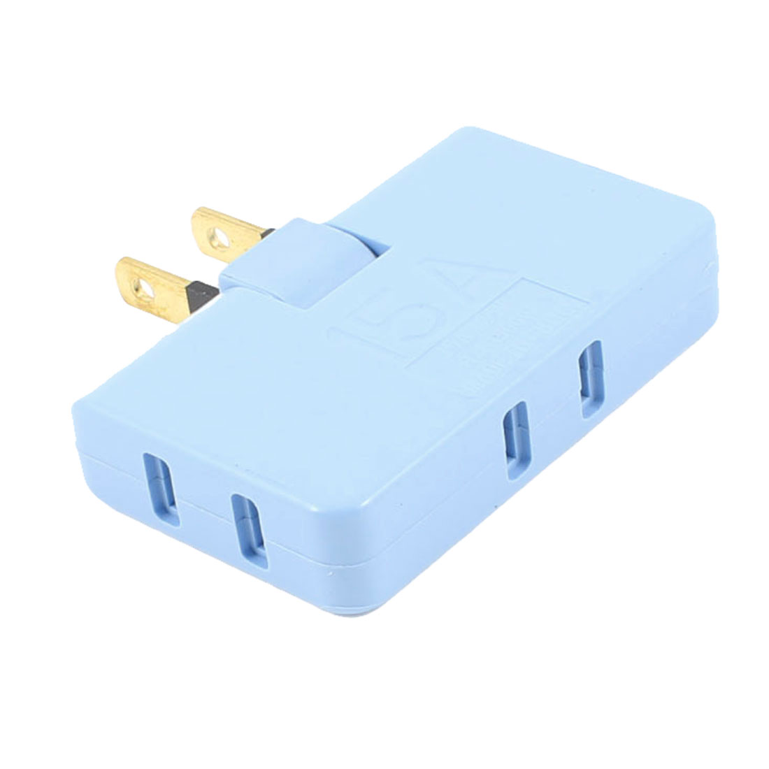Blue Plastic Rotation Triporate Power Plug Socket US AC 125V 15A 1500W