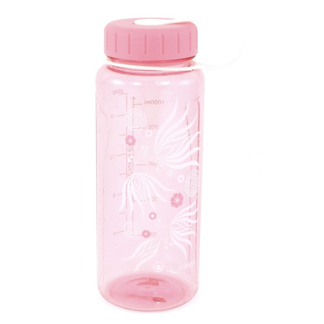Flowers Leaf Print Clear Pink Leakproof Plastic Sports Water Bottle 1000ml