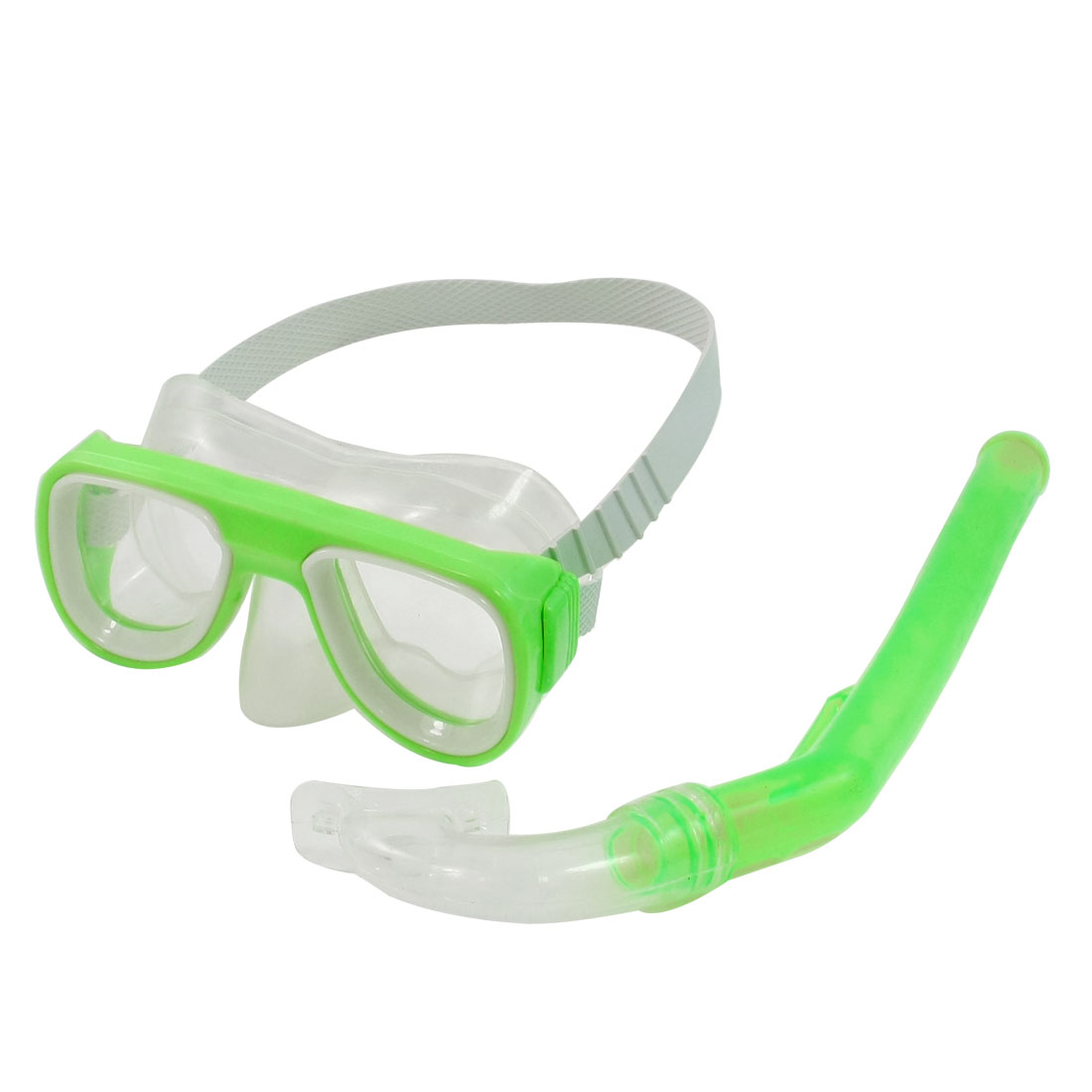 Green PVC Frame Adjustable Head Strap Diving Swimming Snorkel Goggles