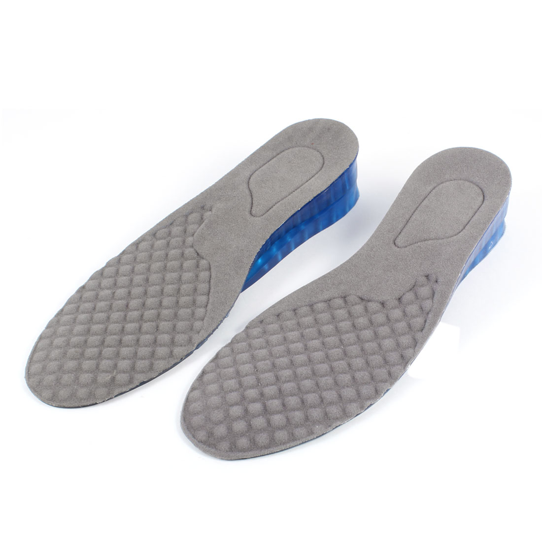 Women Blue Soft Plastic Dual Layer 1 3/4inches Height Heel Insert Insoles US 5