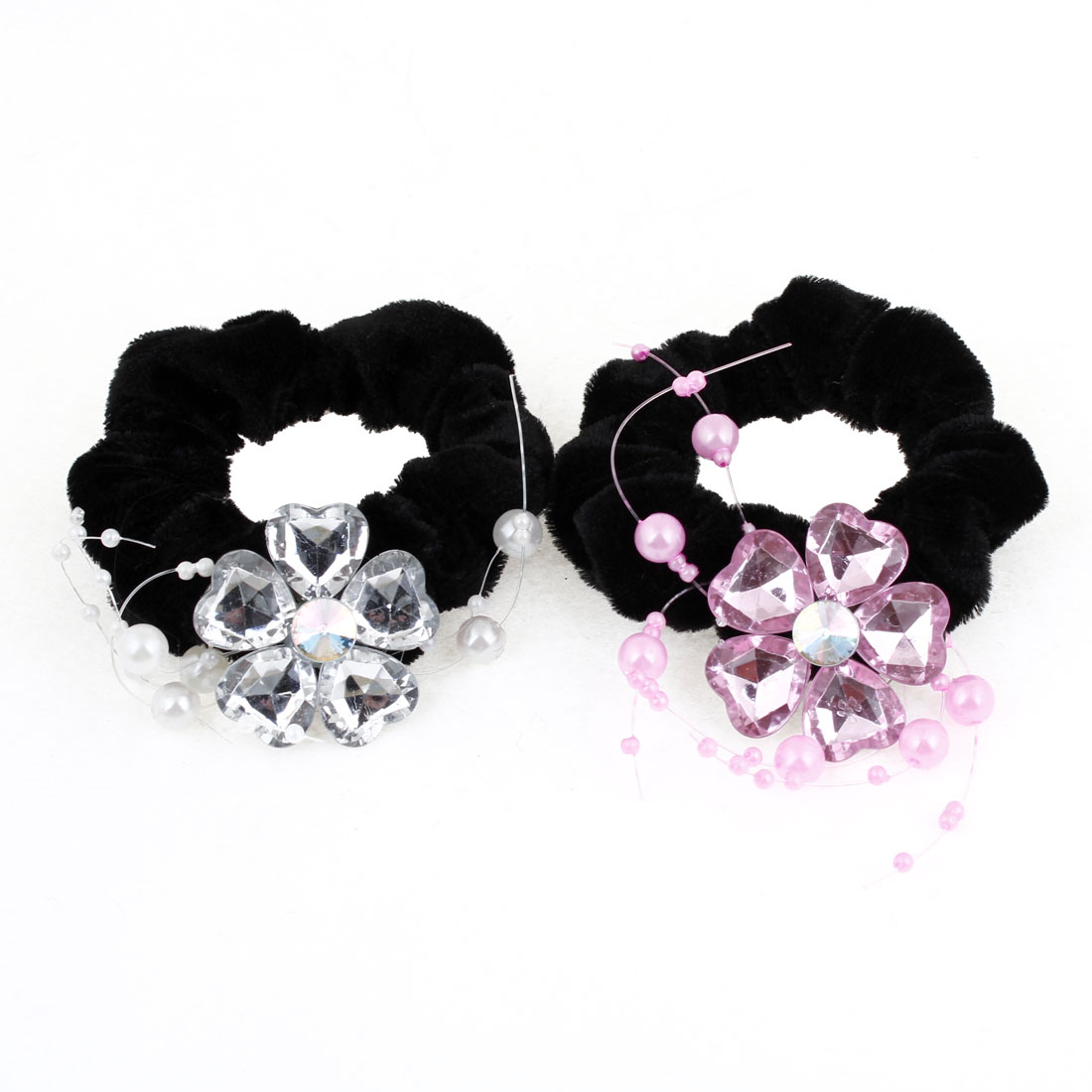 2 Pcs Plastic Beads Inlaid Flower Decor Black Velvet Ponytail Holder Hairband