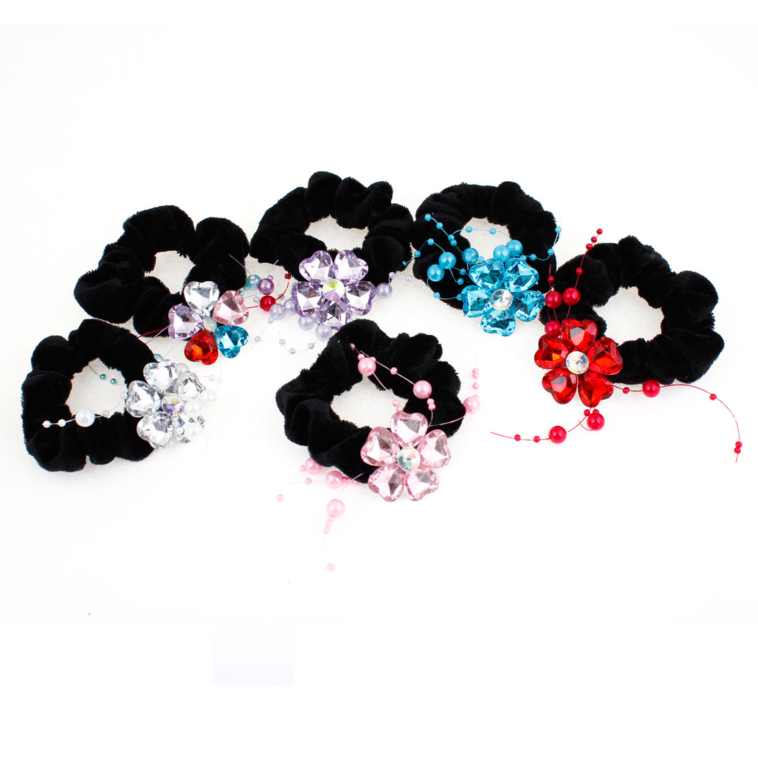 6 Pcs Plastic Beads Inlaid Flower Decor Black Velvet Ponytail Holder Hairband