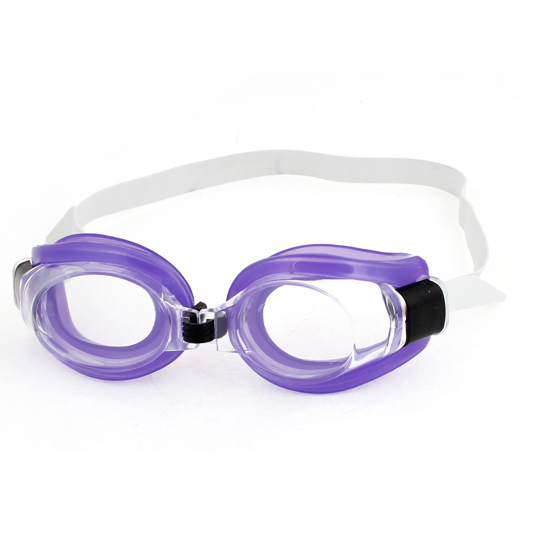 Children Purple Stretchy Antislip Ajustable Band Swimming Goggles Glasses