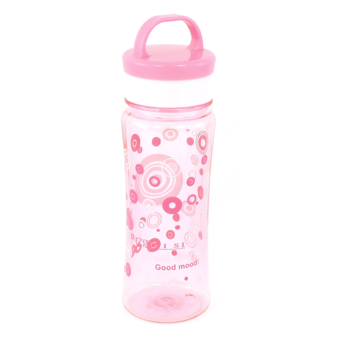 Circles Pattern Clear Pink Camping Picnic Plastic Sports Water Bottle 550ml