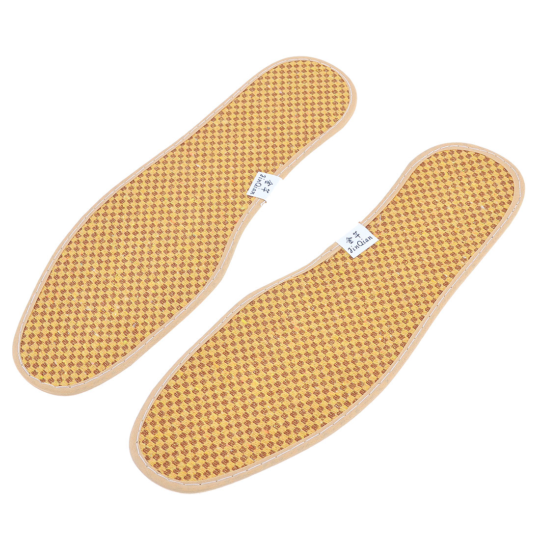 Pair Rhombus Print Textured Nonslip Shoe Pads Insoles UK Size 6.5 Yellow Brown