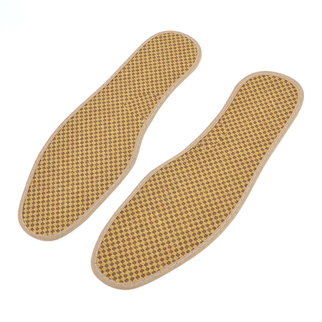 Pair Rhombus Print Textured Nonslip Shoe Pads Insoles UK Size 7.5 Yellow Brown