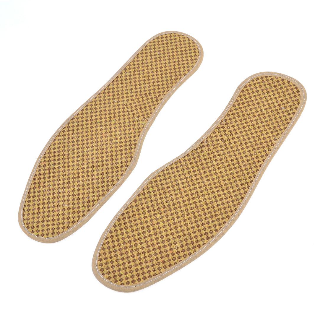 Pair Rhombus Print Textured Nonslip Shoe Pads Insoles UK Size 7.5 Yellow Brown