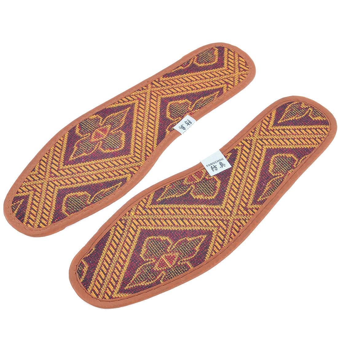 Man Floral Pattern Anti-slip Insoles Shoe Pads Pair Yellow Brown EU Size 42.5