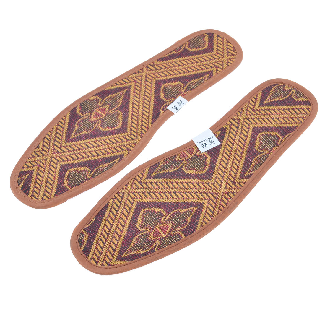 Pair Polyester Floral Pattern Insoles Shoe Pads Yellow Brown US Size 9.5 for Man