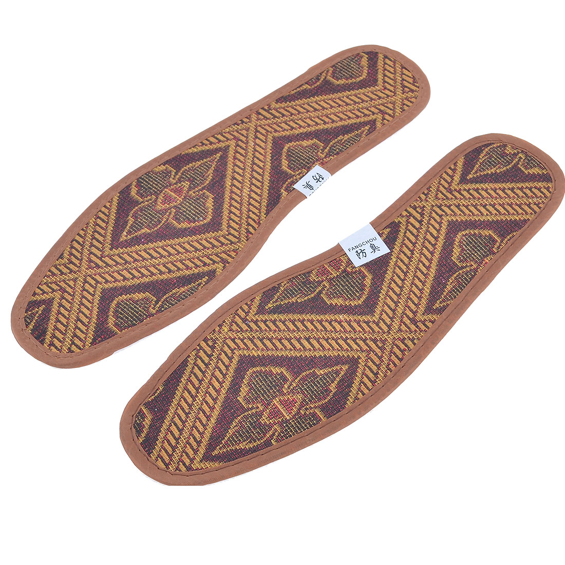 Pair Flower Print Textured Nonslip Shoe Pads Insoles Brown UK Size 7.5 for Men