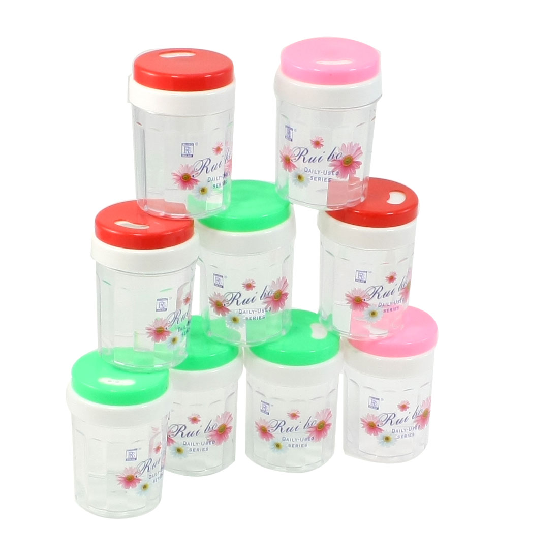 Restaurant Flower Print Colorful Plastic Toothpick Holder Case Box 10 Pcs