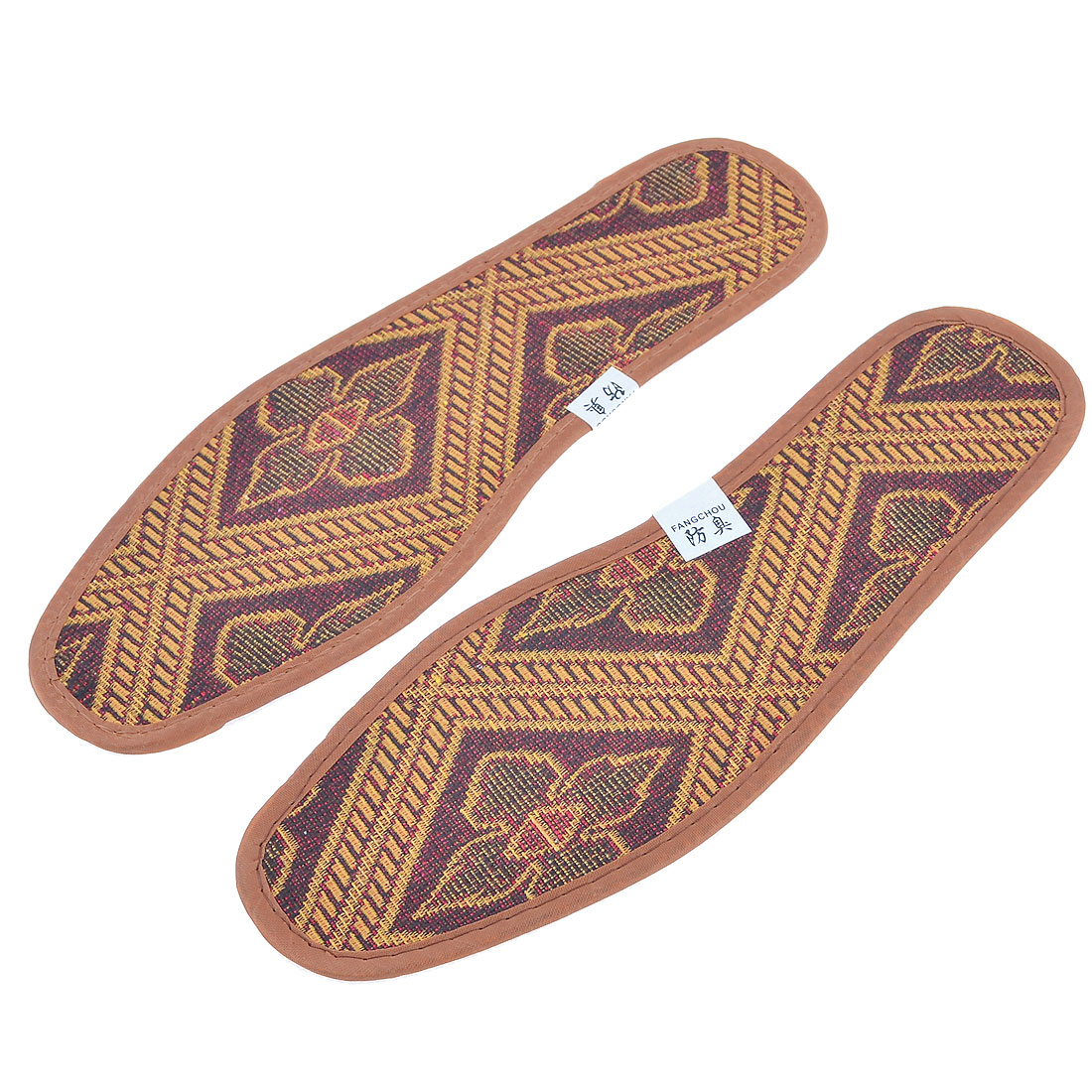 Pair Polyester Floral Pattern Insoles Shoe Pads Yellow Brown US Size 7 for Man