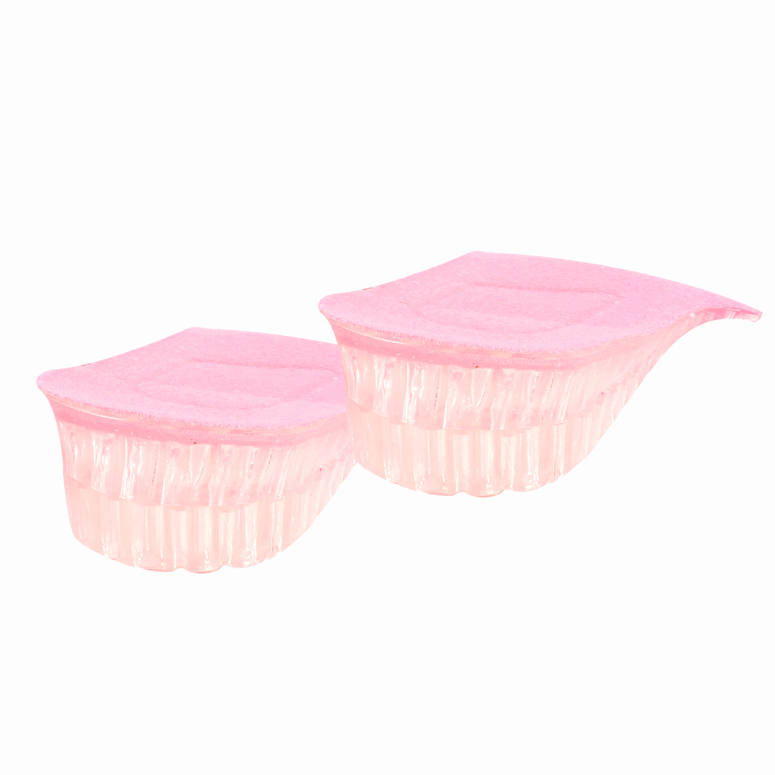 "Women Pink Fleece Coated 1.2"" Up 2 Layer Heel Cushions Insoles Pads Pair"