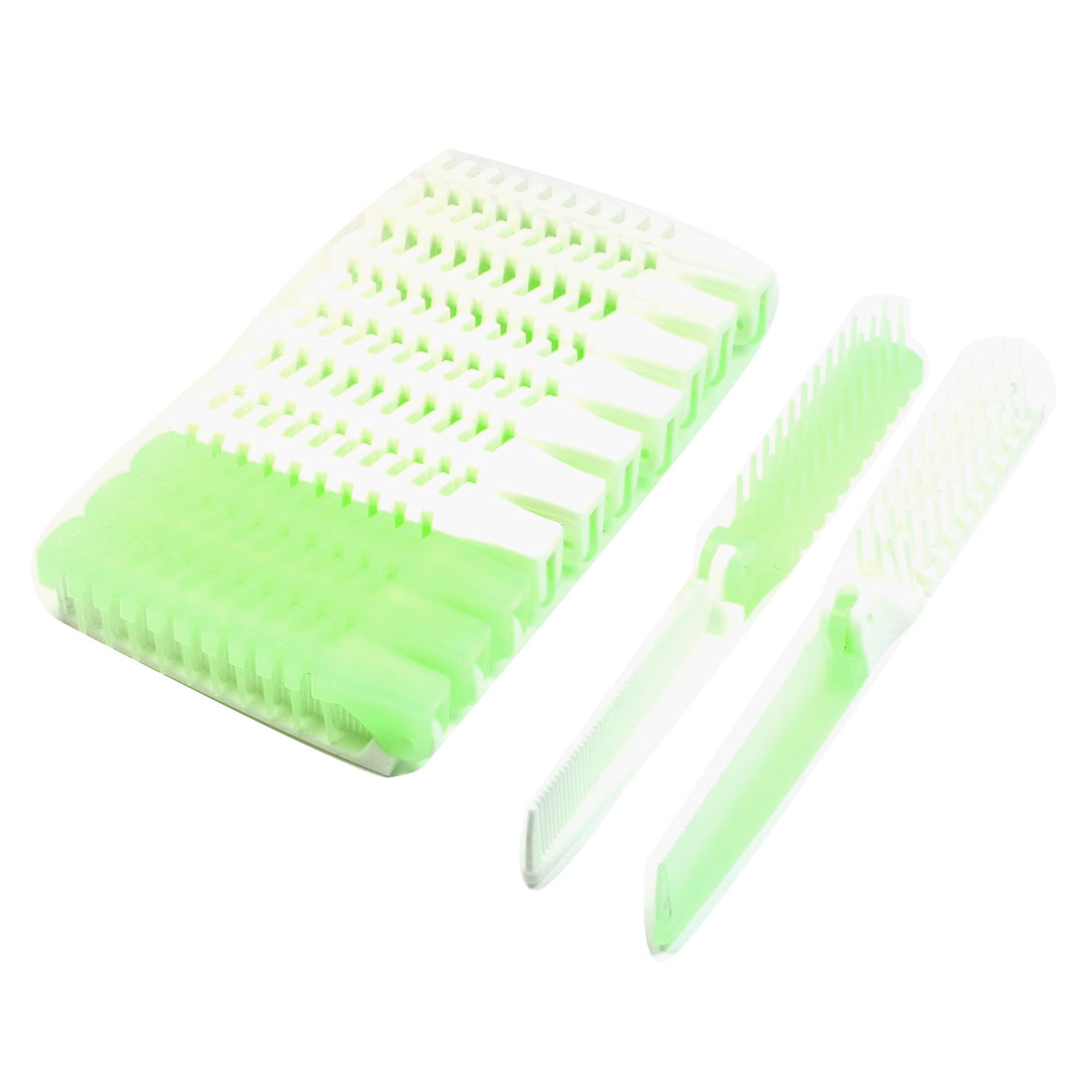 12 Pcs Light Green White Plastic Folding Curly Straight Hair Comb for Lady