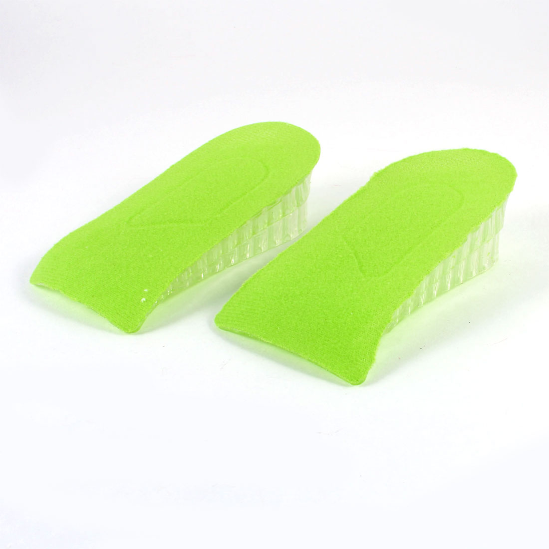 "Woman Silicone Green 2 Tiers 1.2"" Height Heel Lift Height Insoles Pads Pair"