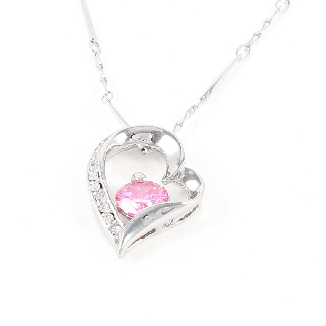 Spring Closure Hollow Out Heart Shaped Necklace Chain Silver Tone for Woman
