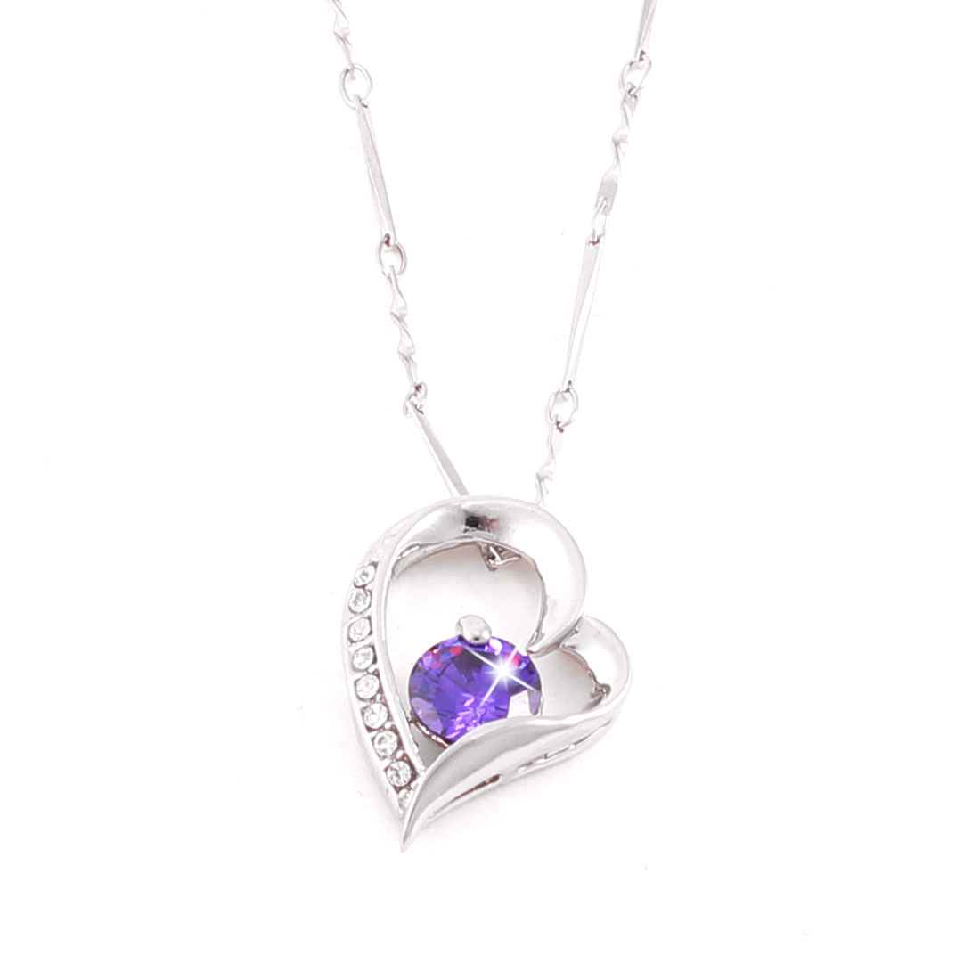 Spring Closure Metal Chain Heart Design Necklace Silver Tone Purple for Lady