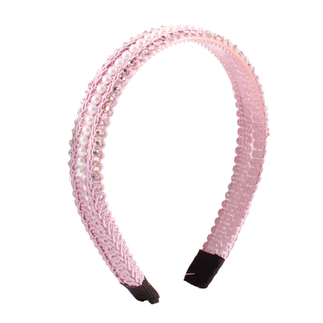 Shiny Rhinestone Imitation Pearl Detailing Hair Hoop Headband Pink for Woman
